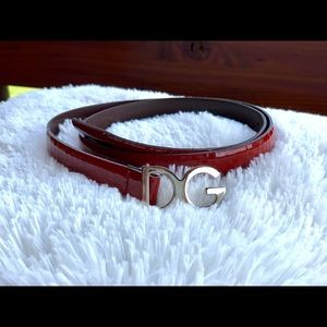 Dolce & Gabbana silver and deep patent red belt